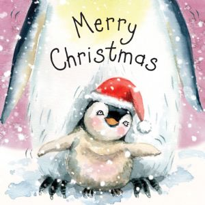WF12  Cute Xmas Card with Baby Penguin